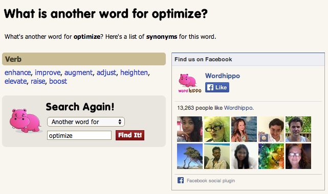 screenshot of word hippo which searches for synonyms for words you type in