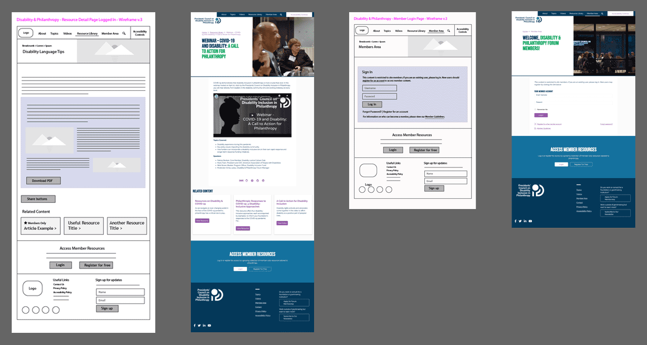 Wireframes and final designs for two site pages