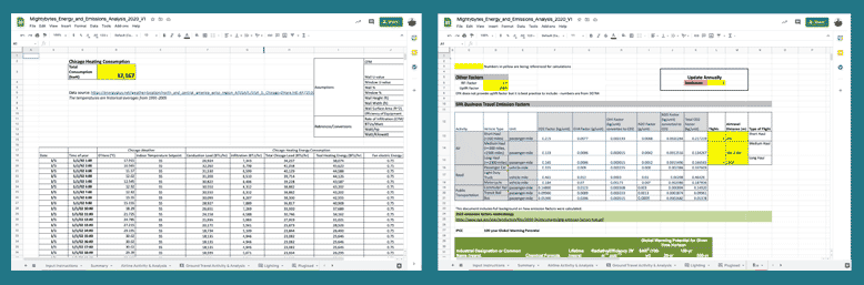 screen grabs of emissions tracking spreadsheets