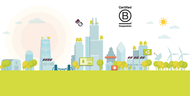 Illustration of a Net Zero Chicago with B Corp logo