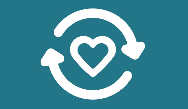 social digital responsibility graphic of a heart inside circular arrows