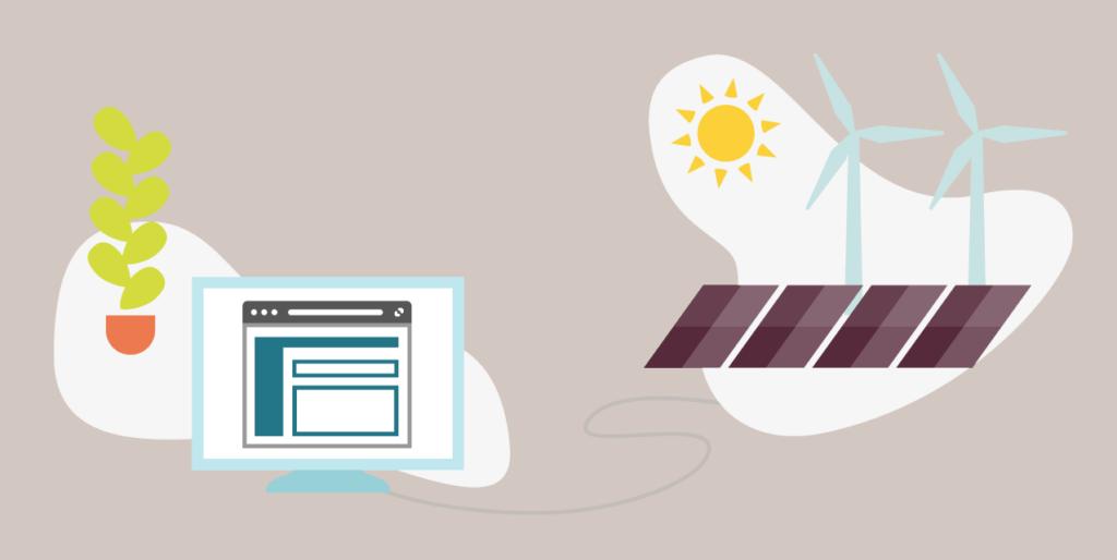 renewable energy powered website hosting illustration