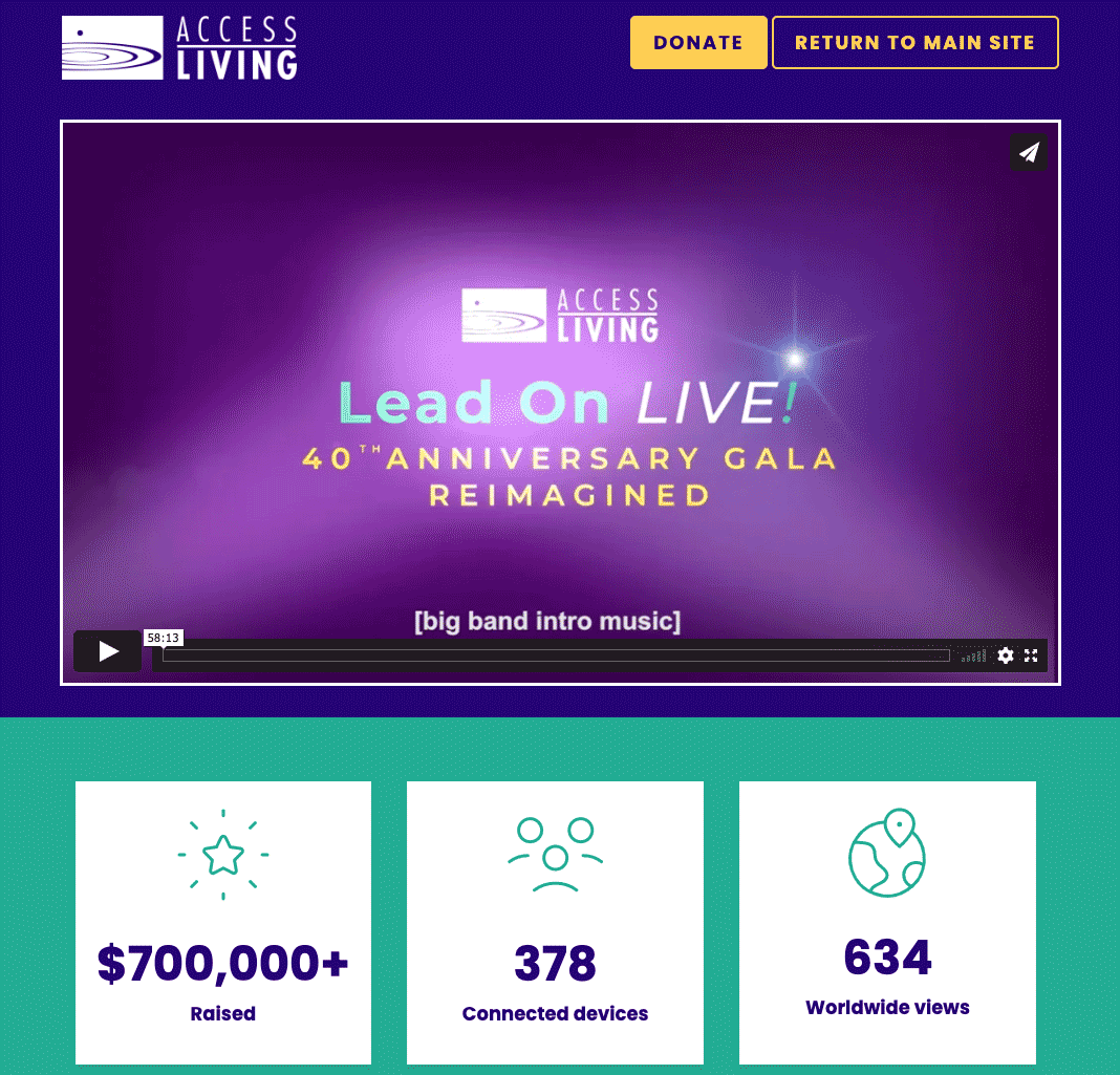 Access Living event page