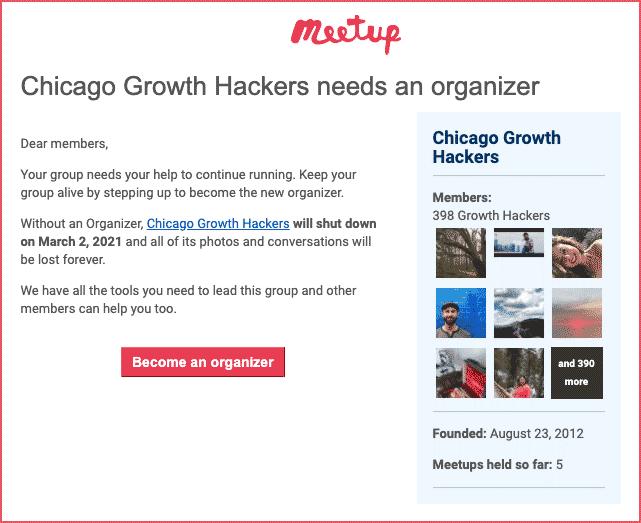 Meetup group archive alert