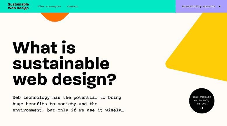 Sustainable Web Design homepage