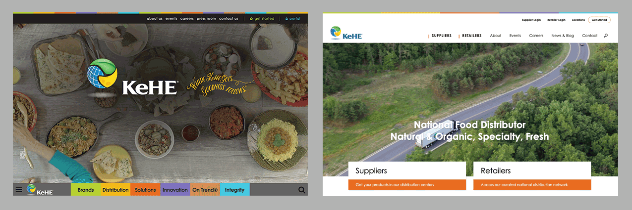 Image showing old and new KeHE homepages side-by-side
