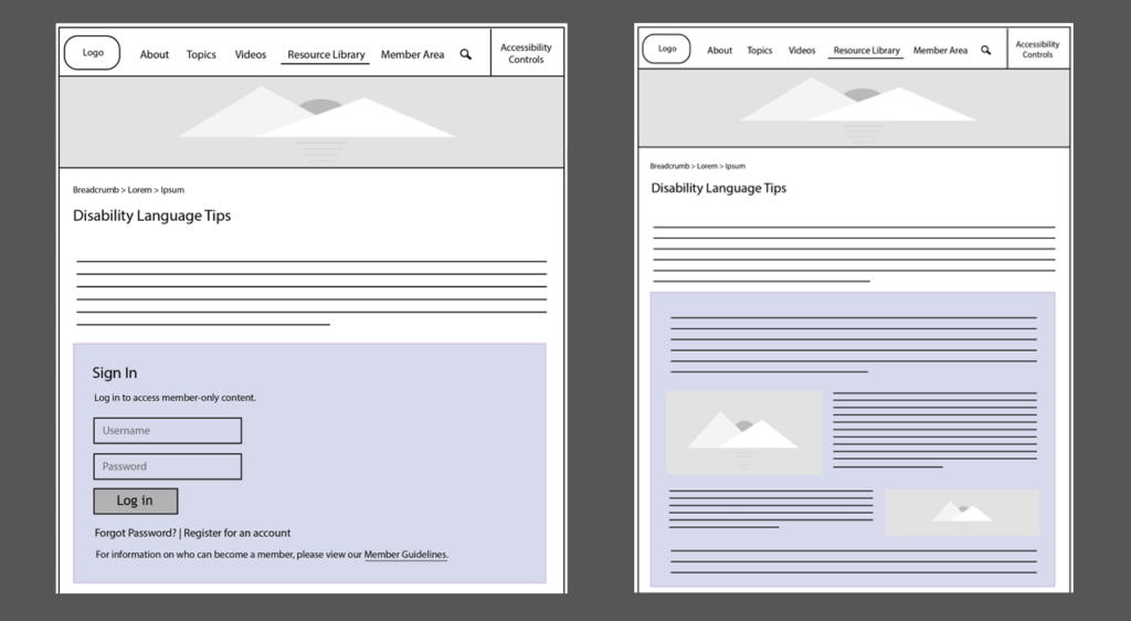 Image depicting two screens of an interactive prototype, one where the user is not logged in (left) and one where they are (right).